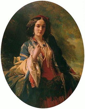"Franz Xaver Winterhalter - Katarzyna Potocka in oriental costume (1854), National Museum, Warsaw. Countess Potocka sat for this portrait in Paris, where she went after returning from a trip to the Holy Land. Róża Krasińska, who with her mother went to Paris, wrote that she was ""a few times in the Winterhalter's studio, while the mother posed for her portraits""."