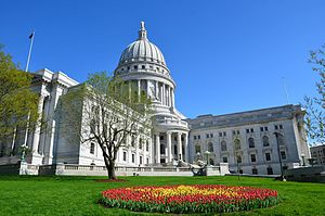 Wisconsin State Capitol Building during Tulip Festival.jpg