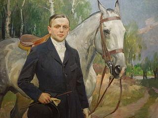 Portret Bronisława Krystalla z koniem