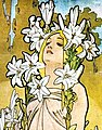 Woman detail, Alfons Mucha - 1898 - The Flowers Lily (cropped).jpg