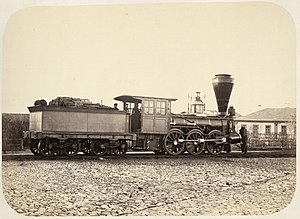 Saint Petersburg–Moscow Railway - Wood-burning locomotive on the Nikolaev Railway, c. 1858