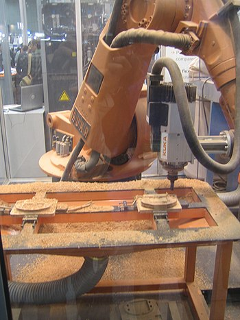 English: Industrial robot for wood processing ...