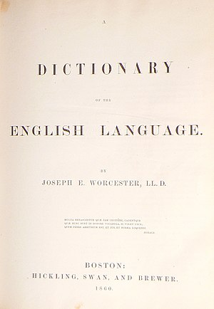 Joseph Emerson Worcester - Title page of an 1860 edition of Dictionary of the English Language