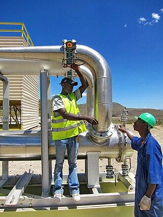 Energy in Kenya - Worker at Olkaria Geothermal Plant.