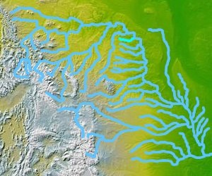 Knife River - The Knife River, highlighted in a map of the watershed of the Missouri River