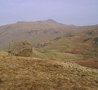 Wrynose Pass - View of the road through the Wrynose Pass, with the Three Shire Stone distantly visible.