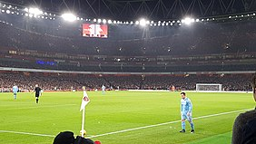 97dc2cf5154 Shaqiri preparing to take a corner kick for Stoke during a game against  Arsenal