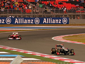 2012 Korean Grand Prix - Räikkönen leads Massa during the race. The pair would swap places before the finish
