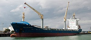 Yellow Moon container ship docked in Auckland harbour.jpg
