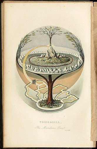 Norse cosmology - A 19th century attempt at illustrating Yggdrasil as described in the Prose Edda