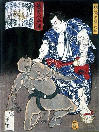 Akashi Shiganosuke - Akashi strangling an opponent in a woodcut by Yoshitoshi
