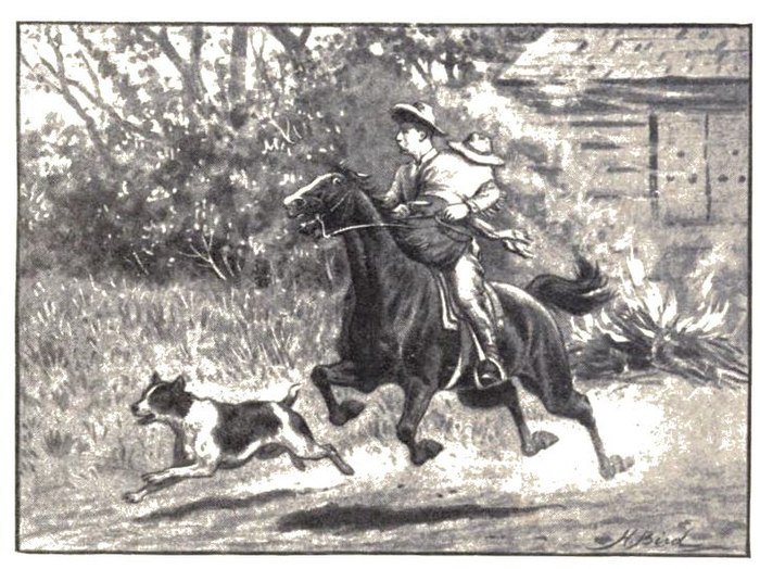 A man of horseback holding a dummy of a girl in front of him rides from a burning building accompanied by a dog.