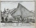Zentralbibliothek Solothurn - BLAUENSTEIN Ein Schloss an der Clus in dem Canton Solothurn von Mitternacht anzusehen Wappen BLAUENSTEIN Château auprès du Passage de lEcluse dans le Canton de Soleure du Cote du Septentrion - a0562.tif
