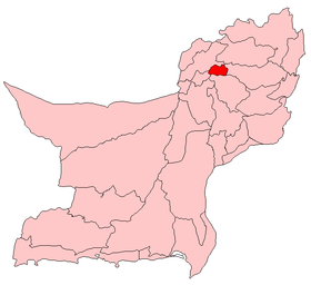 Localisation du district de Ziarat au sein de la province du Baloutchistan.