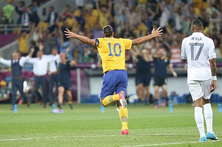 cbbd1ca77 Ibrahimović celebrates after scoring with an acrobatic volley against  France in June 2012. Like his idol Ronaldo