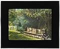 """Beechgate,"" Robert Carmer Hill house, Woodland Avenue, Englewood, New Jersey. Bench in flower garden LCCN2008675635.jpg"