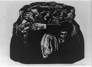 woodcut of mothers holding each other
