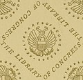 """""""THE LIBRARY OF CONGRESS"""" endpaper with eagle and shield detail from Agatha, a romance of Maine (1880) (14751318726) (cropped).jpg"""