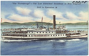 Ticonderoga (steamboat) - Postcard showing Ticonderoga