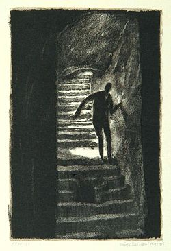 """The road of fear"", page 12 from the book ""Der Golem"", illustrated by Hugo Steiner-Prag"