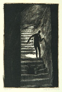 """""""The road of fear"""", page 12 from the book """"Der Golem"""", illustrated by Hugo Steiner-Prag"""