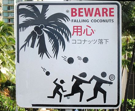 Warning sign in Hawaii in English and Japanese. 'BEWARE FALLING COCONUTS' sign in Honolulu, Hawaii.JPG