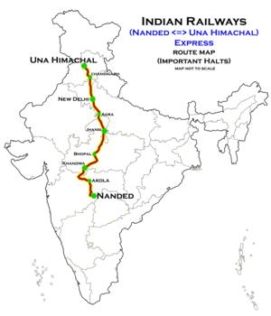 hazur sahib nanded una himachal express wikivisually Lhasa Tibet nanded una himachal express route map