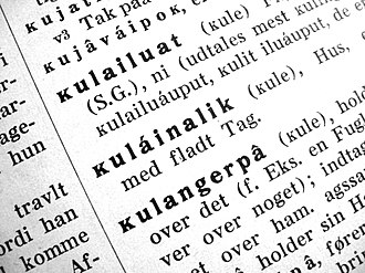 Kra (letter) - ĸ in a Greenlandic–Danish dictionary from 1926