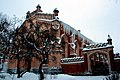 Ограды с воротами зимой, здания царских конюшен, зимой, Петергоф.jpg