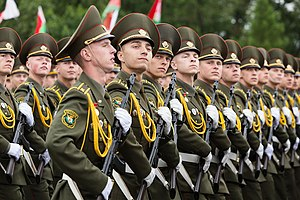 Independence Day (Belarus) - Soldiers on Victors Avenue during a parade in honor of  independence day in 2017.