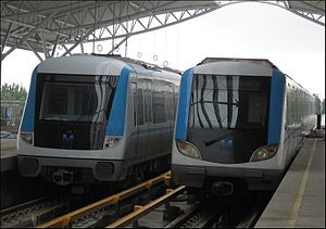 Line 1, Wuhan Metro - Left: Phase 2 rolling stock.  Right: Phase 1 rolling stock.