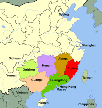 Red Turban Rebellion (1854–1856) - Guangdong province and neighbouring provinces in South China