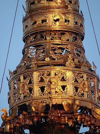 Hti - A closeup of Kyaiktiyo Pagoda's hti.