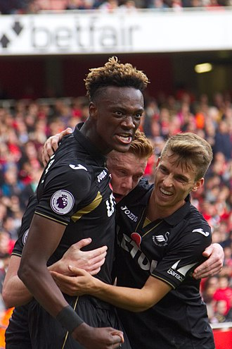 Tammy Abraham - Abraham celebrating a Swansea City goal in 2017