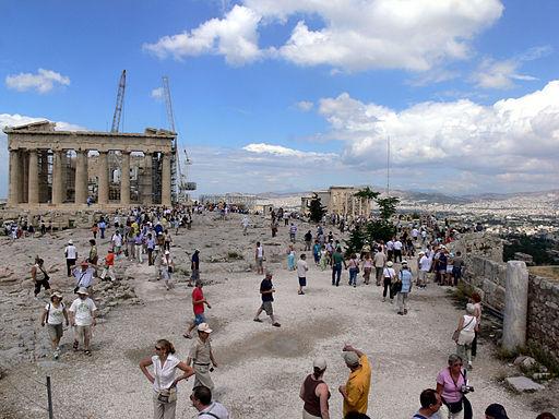 Blick auf den Parthenon in der Akropolis von Athen