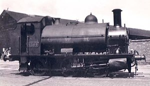 GWR 1361 Class - 1364 at Plymouth Dock 1948. Note the dent in the cylinder cover