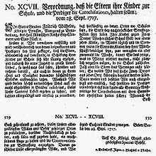 Königliche Verordnung zur Einführung der Allgemeinen Schulpflicht in Preußen, 1717 (Quelle: Wikimedia)