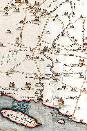 Saw Kill (Hudson River) - Image: 1798 map of lower Saw Kill, Rhinebeck, NY