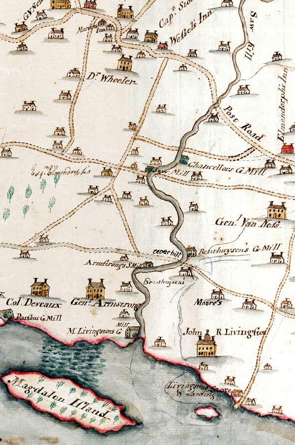 1798 map of lower Saw Kill, Rhinebeck, NY