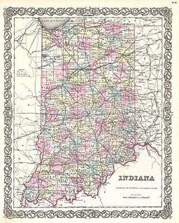 1855 Colton Map of Indiana - Geographicus - Indiana-colton-1855