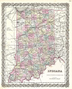 43rd Indiana Infantry Regiment - An 1855 map of Indiana. The counties from which the 43rd was recruited were located in the west central part of the state.