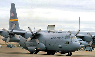 Wyoming Air National Guard - Image: 187th Airlift Squadron Lockheed C 130H Hercules 92 1534