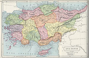 Anatolia - 1907 map of Asia Minor, showing the local ancient kingdoms. The map includes the East Aegean Islands and the island of Cyprus to Anatolia's continental shelf.