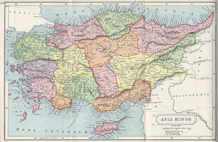 1907 map of Asia Minor, showing the local ancient kingdoms. The map includes the East Aegean Islands and the island of Cyprus to Anatolia's continental shelf. 1907 map of Asia Minor-Atlas of Ancient and Classical Geography by Samuel Butler.jpg