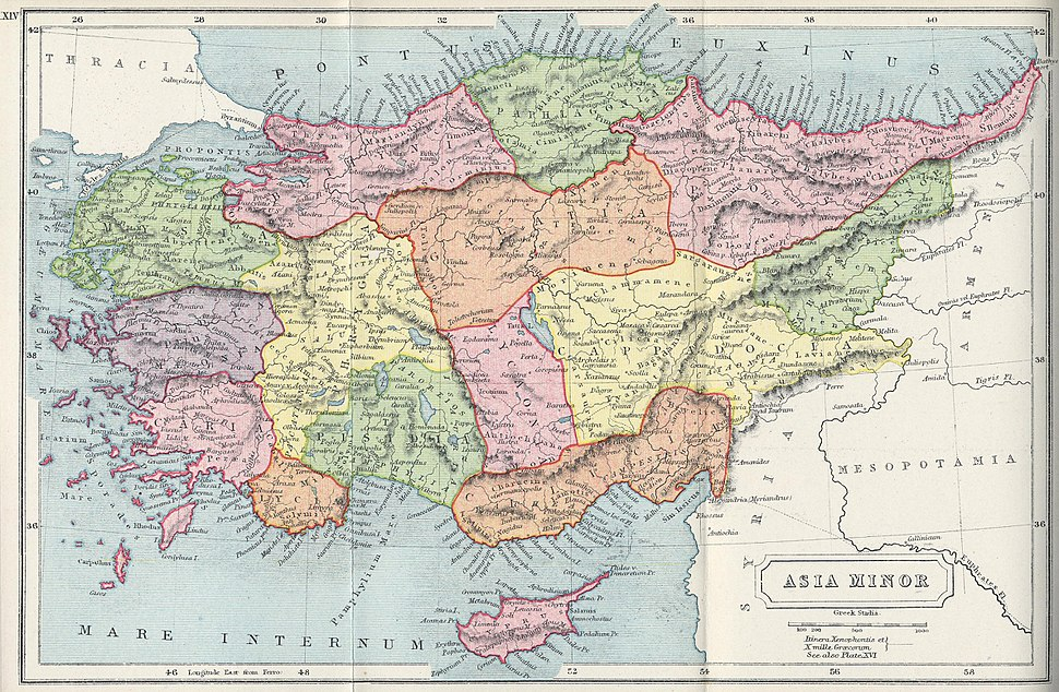 1907 map of Asia Minor-Atlas of Ancient and Classical Geography by Samuel Butler