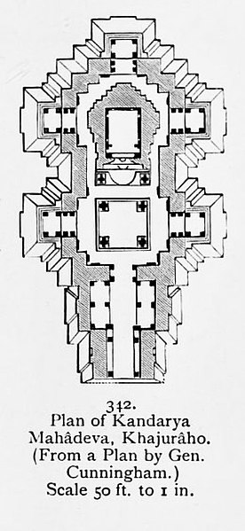 चित्र:1910 sketch of plan, Kandariya Mahadeva Temple, Khajuraho.jpg