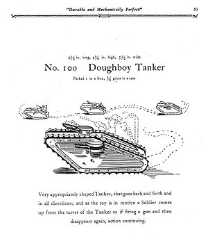 Louis Marx and Company - A 1930 Marx ad for a no. 100 Doughboy Tank.
