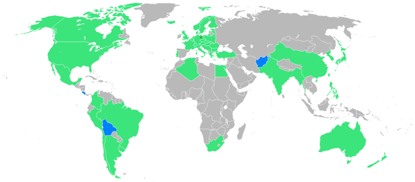 Nations participating for the first time shown in blue.