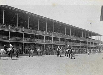 Randwick Racecourse - Members stand and enclosure in 1952.