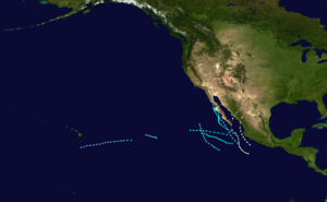 1962 Pacific hurricane season - Image: 1962 Pacific hurricane season summary map